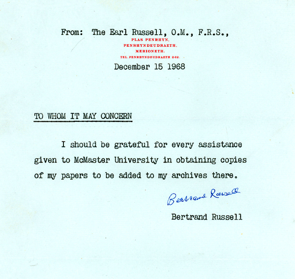 Authorization from Russell, with caption